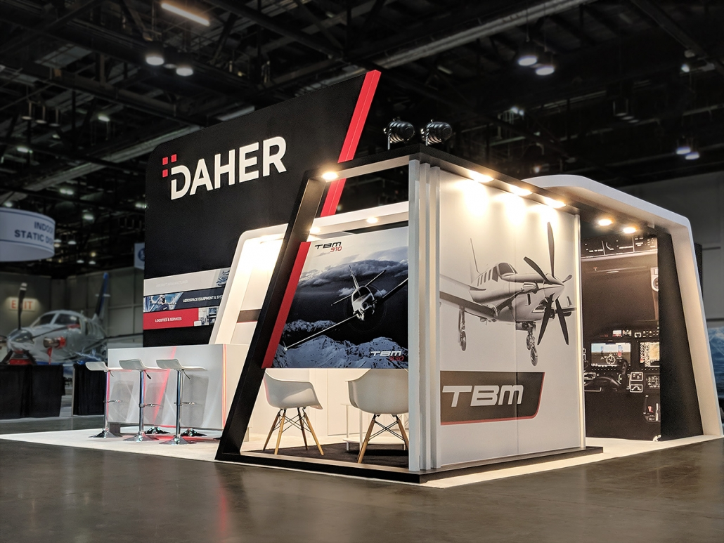 Custom-Booth-Daher-NBAA-2018-Meeting-Area