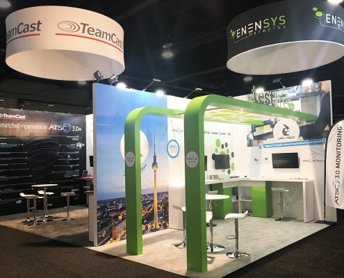 Custom-Booth-Enensys-Teamcast-Testtree-NAB-2018-Testtree-Booth